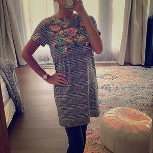 Zara houndstooth shift dress sequins sz S